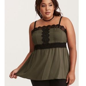Torrid Tank Top Pleated Challis Lace Trim Cami 00